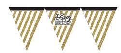 Paper Flag Bunting Black & Gold Happy Birthday due mid april