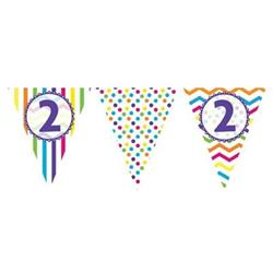 Paper Flag Bunting Chevron Stripe 2nd Birthday