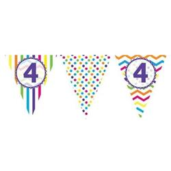Paper Flag Bunting Chevron Stripe 4th Birthday