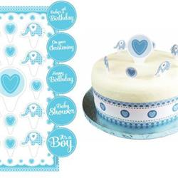 Sweet Baby Elephant Blue Christening Cake Topper Kit with Stickers