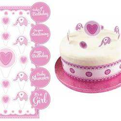 Sweet Baby Elephant Pink Christening Cake Topper Kit with Stickers