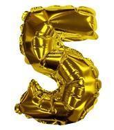Self Sealing Numbers 20cm Gold 5