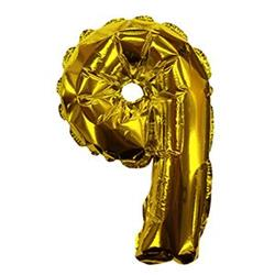 Self Sealing Numbers 20cm Gold 9