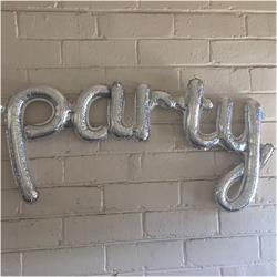 Party Script Holographic Silver 85cm x 35cm