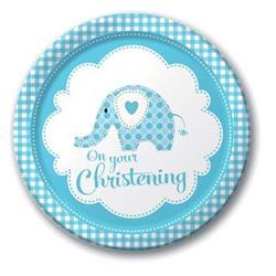 Sweet Baby Elephant Blue Christening Dinner Plate 23cm