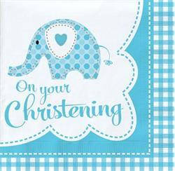 Sweet Baby Elephant Blue Christening Luncheon Napkin