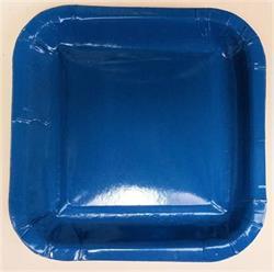 Square Paper Snack Plates 17.5cm Blue