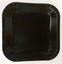 Square Paper Snack Plates 17.5cm Black