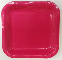Square Paper Snack Plates 17.5cm Hot Pink