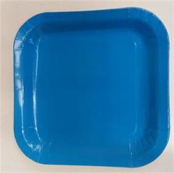 Square Paper Snack Plates 17.5cm Light Blue
