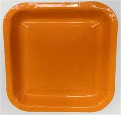 Square Paper Snack Plates 17.5cm Orange