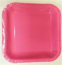 Square Paper Snack Plates 17.5cm Pink