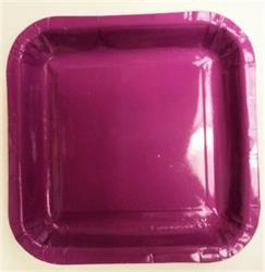Square Paper Snack Plates 17.5cm Purple