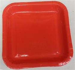 Square Paper Dinner Plates 22.8cm Watermelon Red