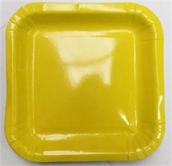 Square Paper Dinner Plates 22.8cm Icy Yellow