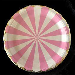 Candy Stripe Pink paper plate 17cm. Pack of 8