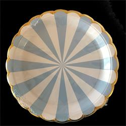 Candy Stripe Blue paper plate 23cm. Pack of 8