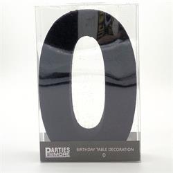 Foam Glitter Number 0 Centerpiece Black with adhesive base