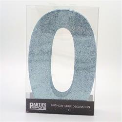 Foam Glitter Number 0 Centerpiece Light Blue with adhesive base