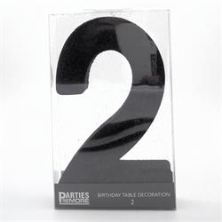 Foam Glitter Number 2 Centerpiece Black with adhesive base