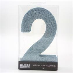 Foam Glitter Number 2 Centerpiece Light Blue with adhesive base