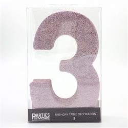 Foam Glitter Number 3 Centerpiece Light Pink with adhesive base