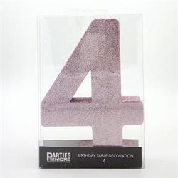 Foam Glitter Number 4 Centerpiece Light Pink with adhesive base