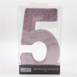 Foam Glitter Number 5 Centerpiece Light Pink with adhesive base