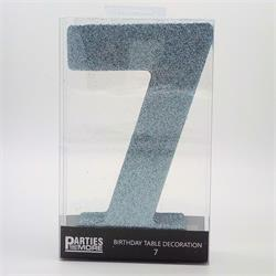 Foam Glitter Number 7 Centerpiece Light Blue with adhesive base