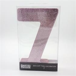 Foam Glitter Number 7 Centerpiece Light Pink with adhesive base
