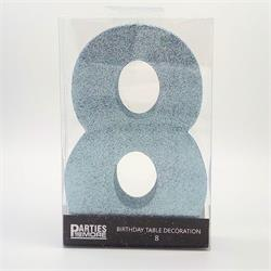 Foam Glitter Number 8 Centerpiece Light Blue with adhesive base