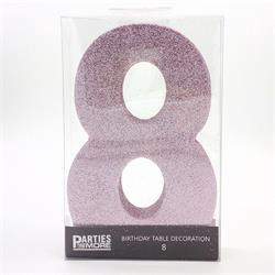 Foam Glitter Number 8 Centerpiece Light Pink with adhesive base