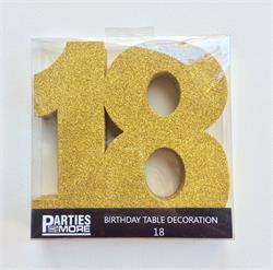 Foam Glitter Number 18 Centerpiece Gold