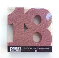 Foam Glitter Number 18 Centerpiece Rose Gold