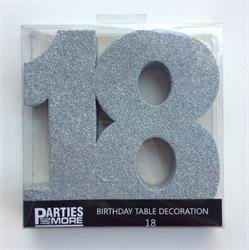 Foam Glitter Number 18 Centerpiece Silver