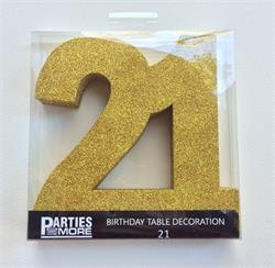 Foam Glitter Number 21 Centerpiece Gold