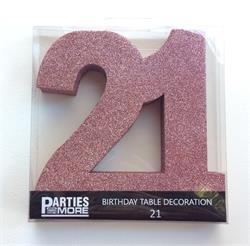 Foam Glitter Number 21 Centerpiece Rose Gold