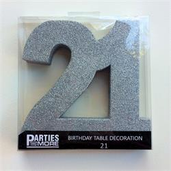 Foam Glitter Number 21 Centerpiece Silver