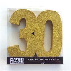 Foam Glitter Number 30 Centerpiece Gold