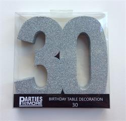 Foam Glitter Number 30 Centerpiece Silver