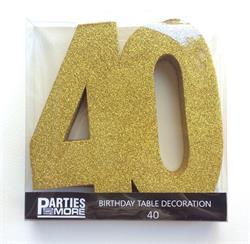 Foam Glitter Number 40 Centerpiece Gold