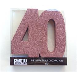 Foam Glitter Number 40 Centerpiece Rose Gold