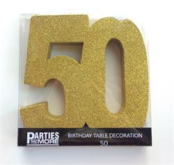 Foam Glitter Number 50 Centerpiece Gold