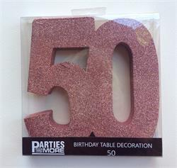 Foam Glitter Number 50 Centerpiece Rose Gold