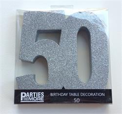 Foam Glitter Number 50 Centerpiece Silver