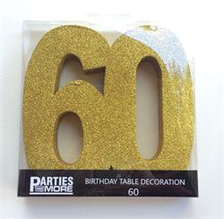 Foam Glitter Number 60 Centerpiece Gold