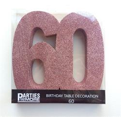 Foam Glitter Number 60 Centerpiece Rose Gold