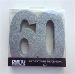 Foam Glitter Number 60 Centerpiece Silver