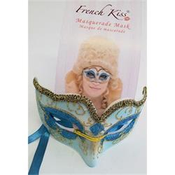 Mask Masquerade Turquoise with Gold Glitter