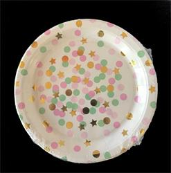 Pink Gold and Green Dots paper plate 17cm. Pack of 8